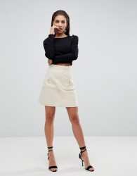 Finders Keepers One Step Utility Skirt - Cream