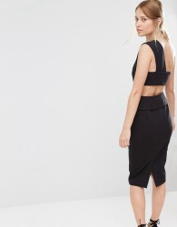 Finders Keepers Pencil Dress With Back Detail - Black