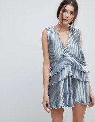 Finders Pleated Smock Frill Dress - Blue