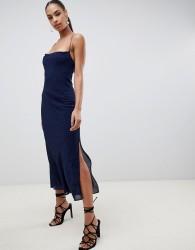 Finders Secrets strappy midi dress in flock spot print - Navy