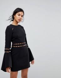 Finders Solar Fluted Sleeves Mini Dress - Black