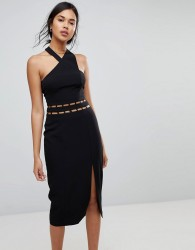 Finders Solar Halter Cut Out Midi Dress - Black