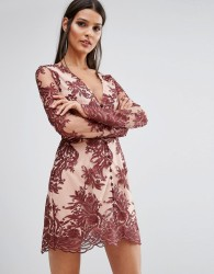 Finders Spectral Lace Long Sleeve Dress - Red