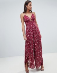Finders star print plunge jumpsuit - Red