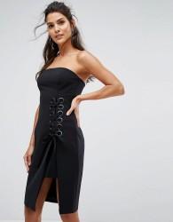 Finders Unbelievers Bandeau Dress With Lattice Tie - Black
