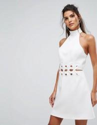 Finders Unbelievers Mini Dress With Lattice Waist Detail - Cream