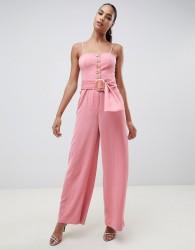Finders Westway wide leg jumpsuit with statement belt - Pink