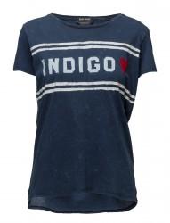 Fine Indigo Jersey Tee With Chest Artwork