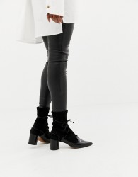 Finery Grace leather and suede sock boots - Black