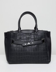 Fiorelli Alma Black Croc Buckle Front Tote Bag - Black