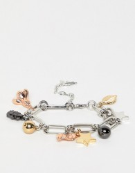 Fiorelli mixed charm plated bracelet - Silver