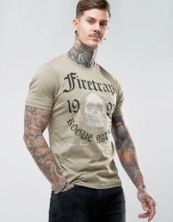 Firetrap Graphic Skull T-Shirt - Stone
