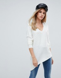 First & I Asymmetric V Neck Jumper - Cream
