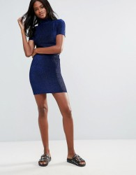 First & I Bodycon Metallic Skirt - Blue