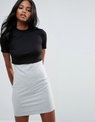 First & I Jersey Colour Block Dress - Black