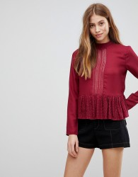 First & I Lace Panel Peplum Top - Red