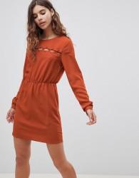 First & I Plait Detail Dress - Orange