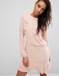 First & I Ruffle Front Dress - Pink
