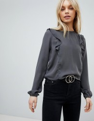 First & I Ruffle Shoulder Blouse - Grey