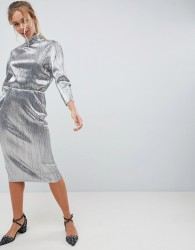 First & I silver plisse high neck dress - Silver