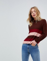 First & I Stripe Fitted Knit Top - Red