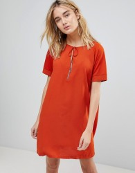 First & I Tassel Tie Shift Dress - Orange