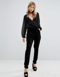 First & I Velvet Slim Leg Trouser - Black