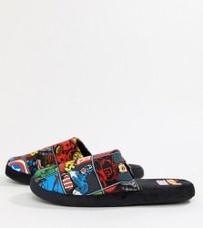 Fizz Marvel print slippers Exclusive at ASOS - Black