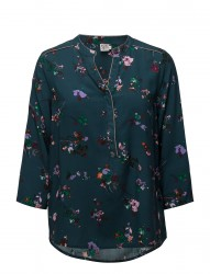 Floral Print Blouse W.Piping