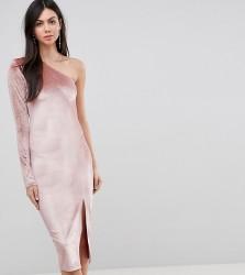 Flounce London Tall Glitter Velvet One Shoulder Midi Dress - Multi