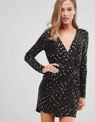 Flounce London wrap front mini dress with statement shoulder in black with gold sequin in black/gold - Black
