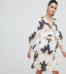 Flounce London Wrap Front Satin Midi Dress with Kimono Sleeve in Print - Multi
