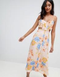 Flynn Skye bloom cut out midi dress - Orange
