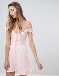 Flynn Skye Button Front Mini Dress - Pink