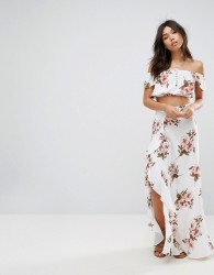 Flynn Skye Floral Maxi Skirt Co-Ord With Ruffle And Side Split - Multi