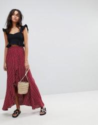 Flynn Skye Ruffle Maxi Skirt - Red