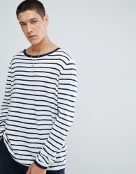FoR Boat Neck Jumper In White Stripe - White