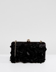 Forever New 3D Floral Box Clutch - Black