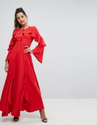 Forever New Flippy Maxi Dress with Frill Detail - Red