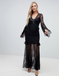 Forever New lace sleeve maxi dress in black - Black
