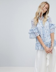 Forever New Layered Blouse In Floral Print - Multi