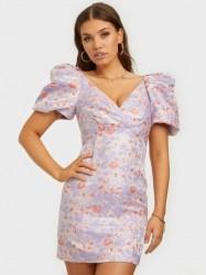 Forever New Pamela Puff Sleeve Jacquard Mini Skater kjoler