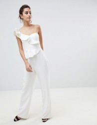 Forever New Structured Ruffle Jumpsuit - White