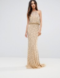 Forever Unique All Over Embellished Maxi Dress With Drape Back - Cream