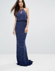 Forever Unique All Over Embellished Maxi Dress With Drape Back - Navy