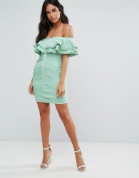 Forever Unique Bandage Off Shoulder Dress With Frill Overlay - Green