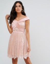 Forever Unique Bardot Cross Over Mini Lace Skater Dress - Pink