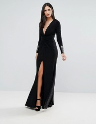 Forever Unique Black Maxi Dress With Sleeve Detailing - Black