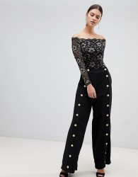 Forever Unique Button Detail Trousers - Black