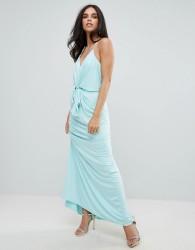 Forever Unique Cami Maxi Dress With Tie Waist - Blue